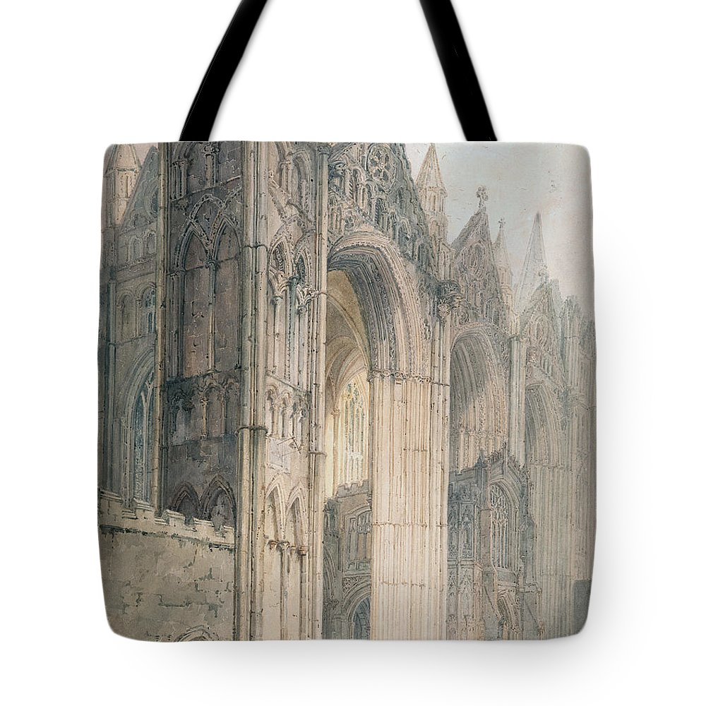 Architecture Tote Bag featuring the painting Peterborough Cathedral by Thomas Girtin