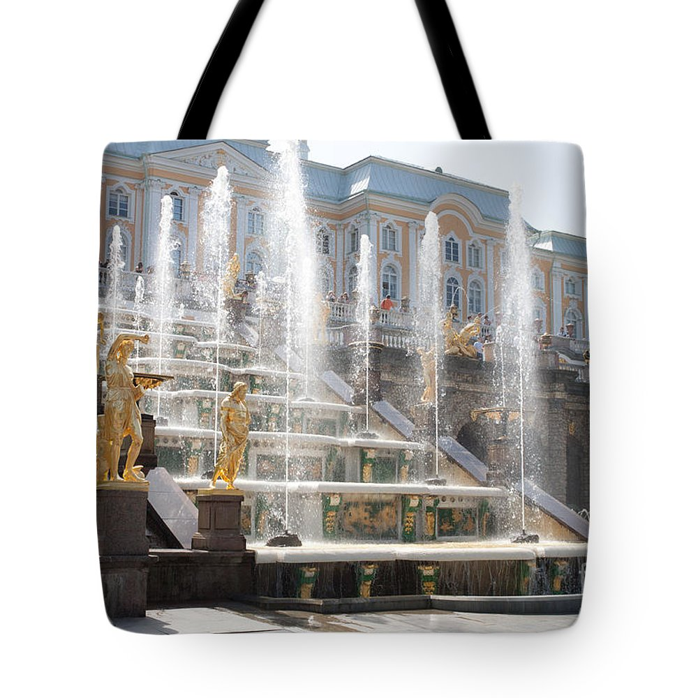 Architecture Tote Bag featuring the photograph Peterhof Palace Fountains by Thomas Marchessault