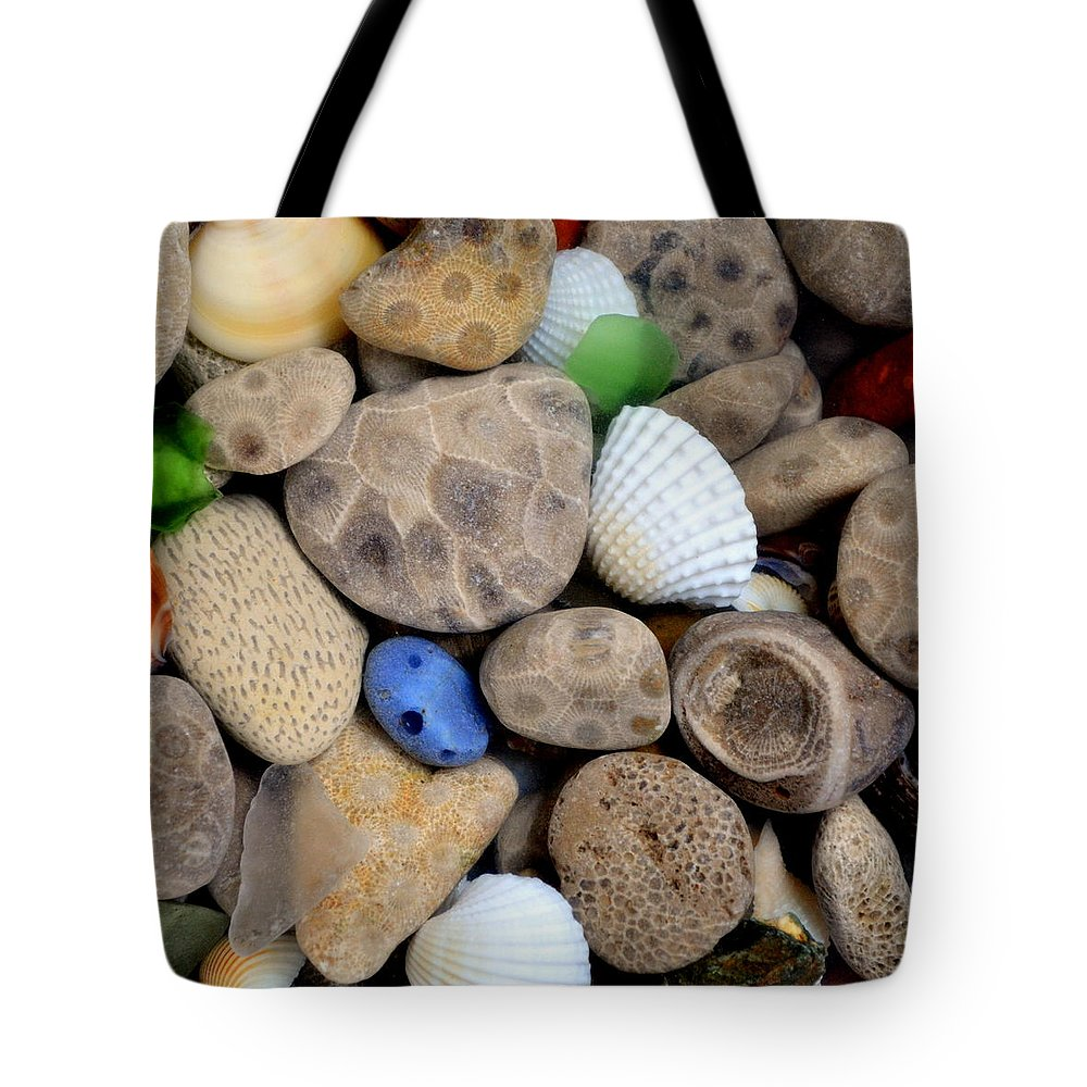 Square Tote Bag featuring the photograph Petoskey Stones V by Michelle Calkins