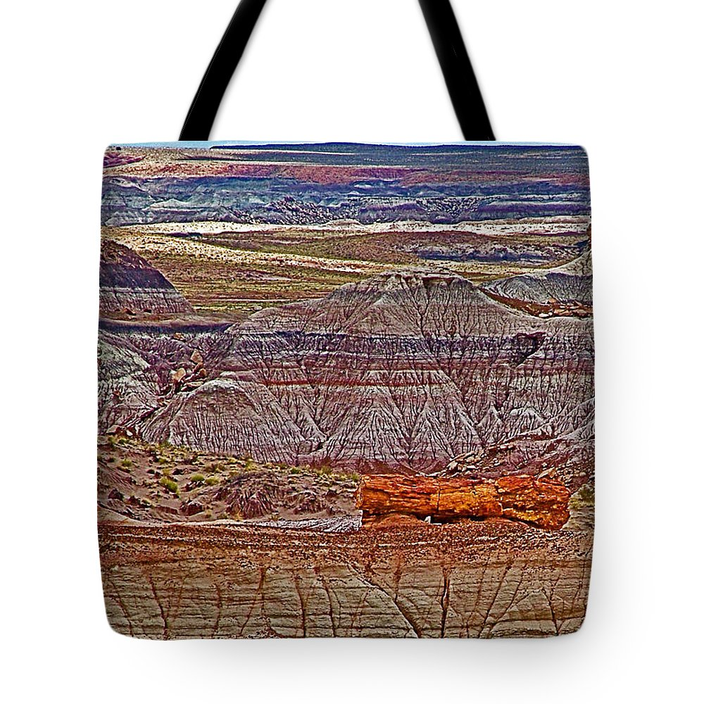 Petrified Log On Overlook Near Blue Mesa In Petrified Forest National Park Tote Bag featuring the photograph Petrified Log On Overlook Near Blue Mesa In Petrified Forest National Park-arizona  by Ruth Hager