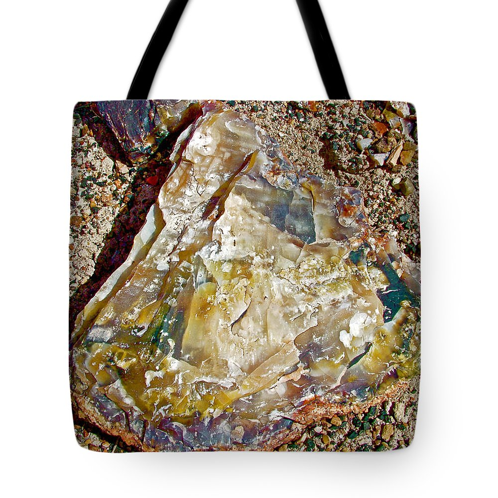 Closeup Of Petrified Wood In Crystal Forest In Petrified Forest National Park Tote Bag featuring the photograph Petrified Wood In Crystal Forest In Petrified Forest National Park-arizona by Ruth Hager