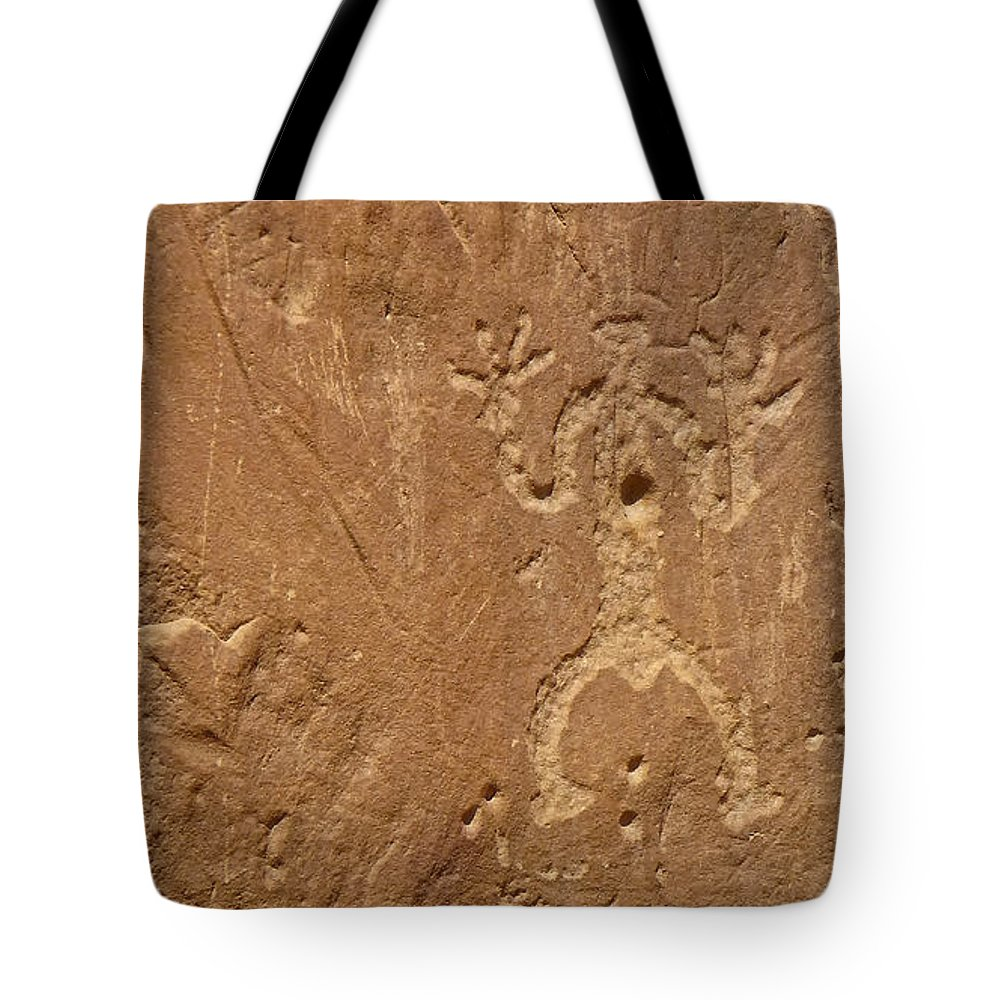 Abandoned Tote Bag featuring the photograph Petroglyph Wall by Ghostwinds Photography