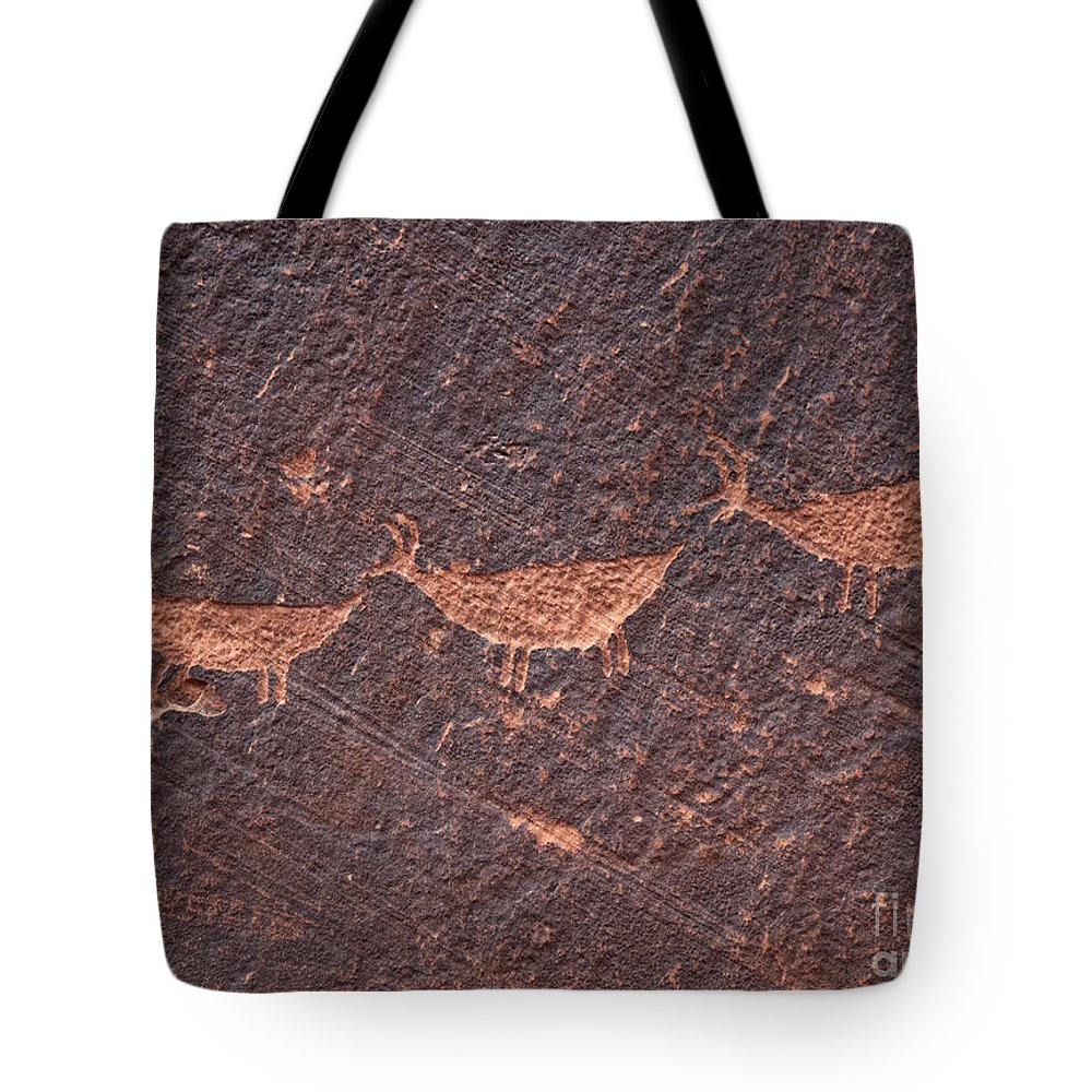 Red Rocks Tote Bag featuring the photograph Petroglyphs by Claudia Kuhn