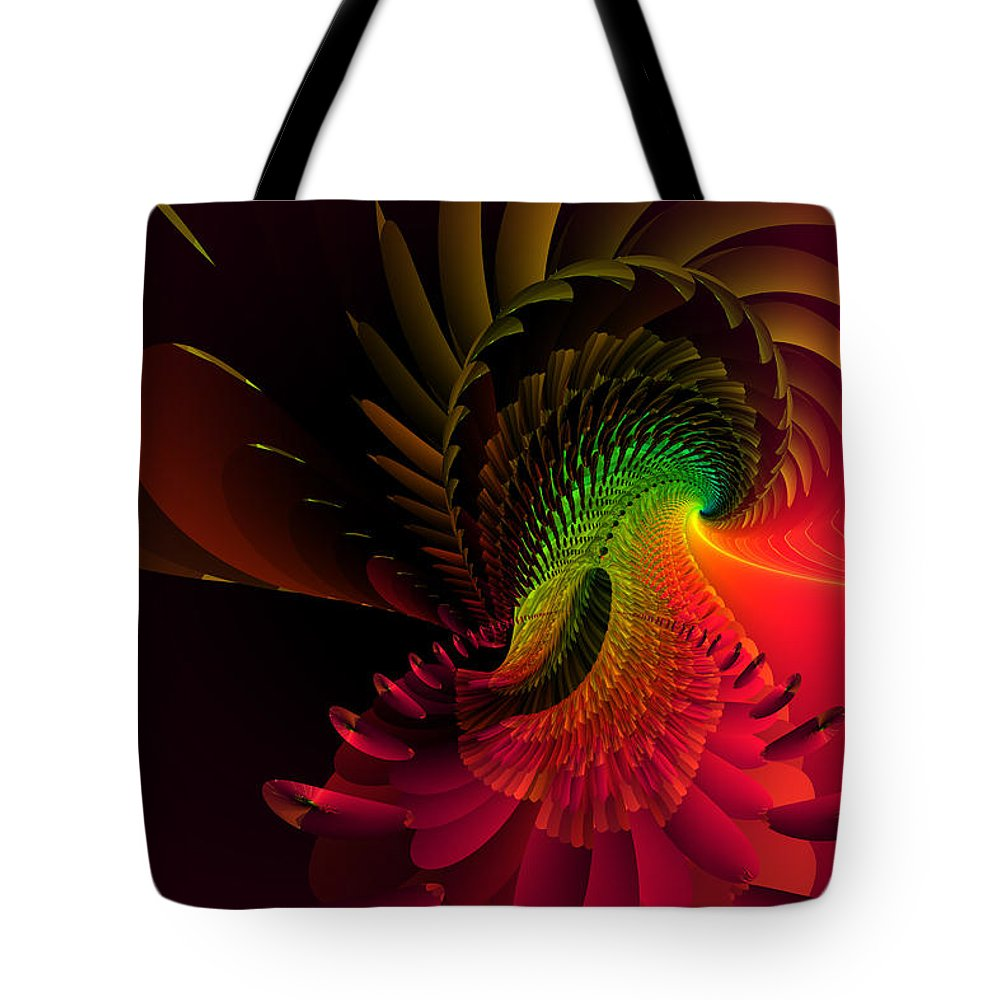 Abstract: Color; Abstract: Geometric; Animals: Birds; Science Fiction & Fantasy: Dreamscapes Tote Bag featuring the digital art Pheasant Fire by Ann Stretton