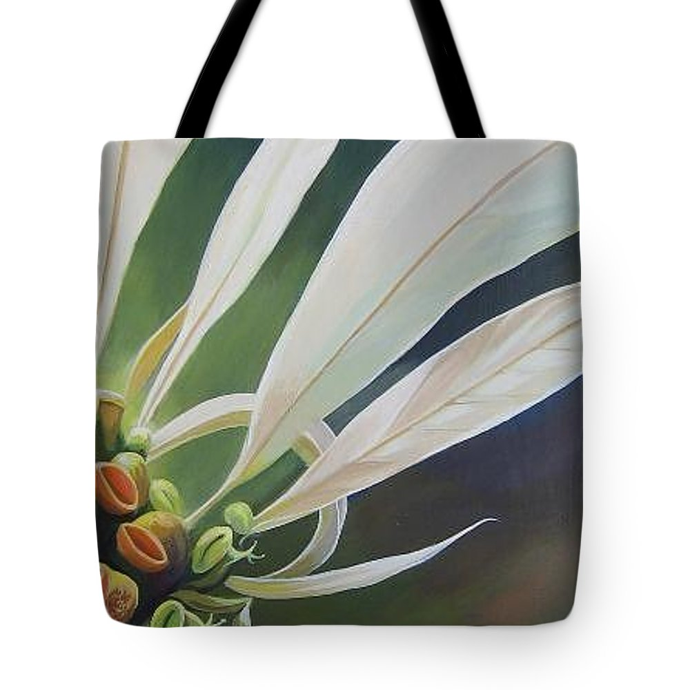 White Poinsettia Tote Bag featuring the painting Phenomenal World by Hunter Jay