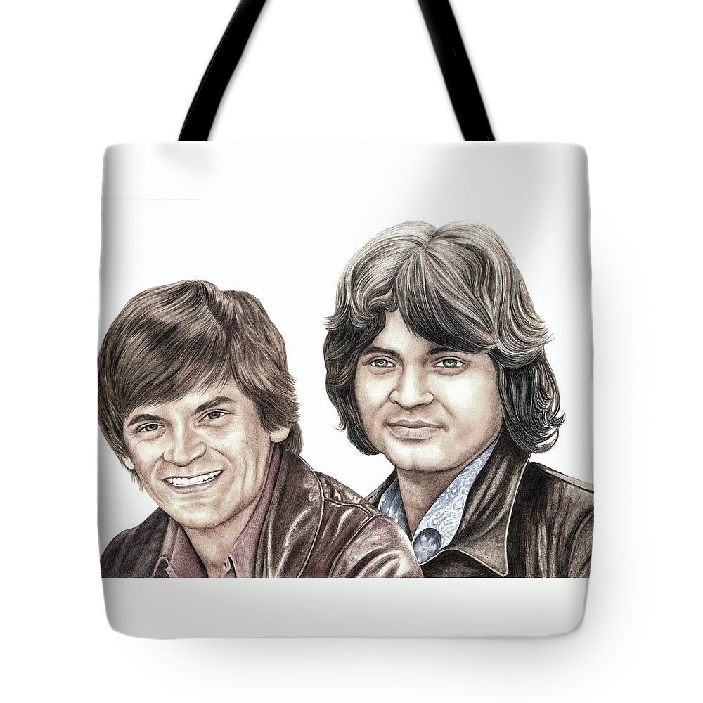 Phil Tote Bag featuring the drawing Phil And Don Everly by Margaret Sanderson