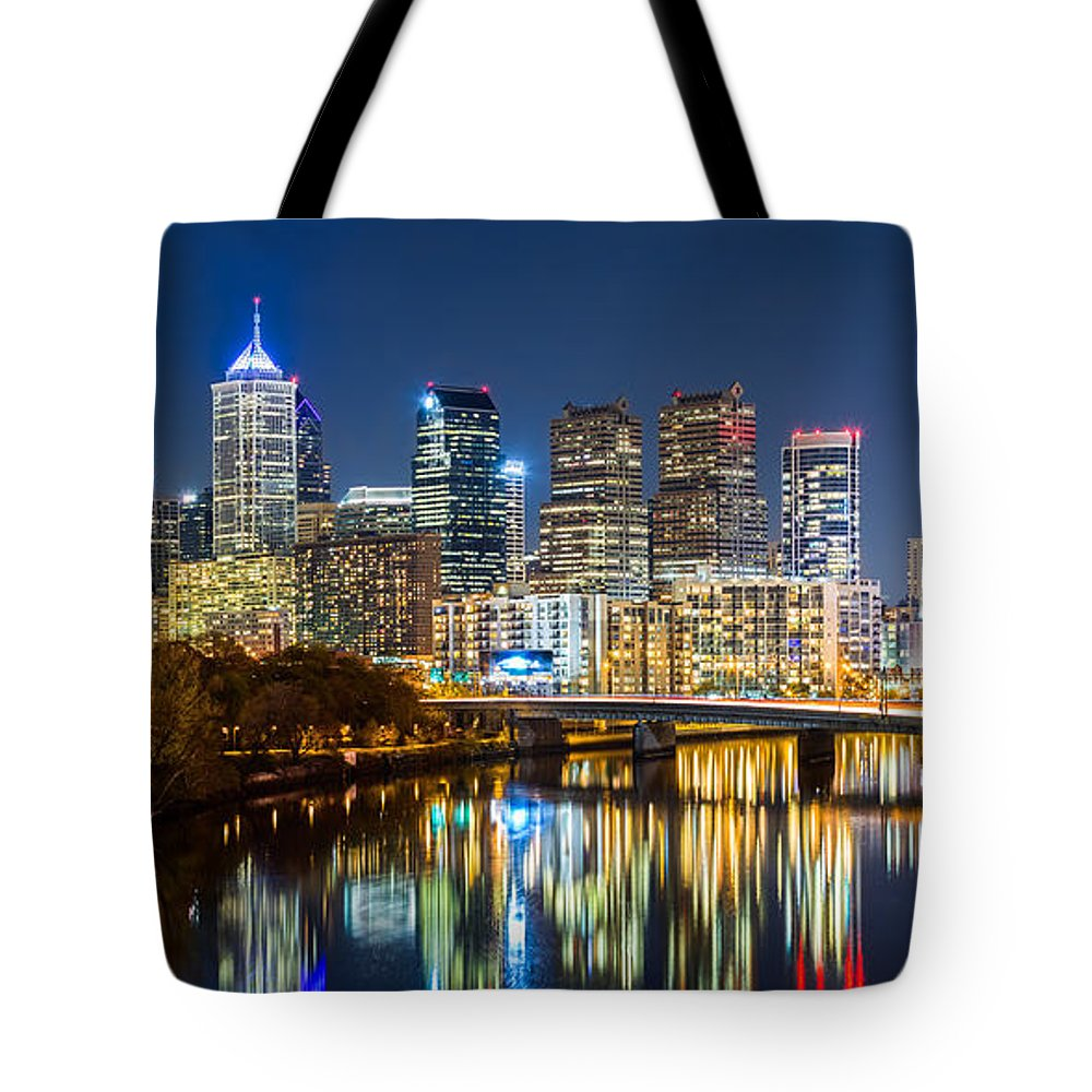America Tote Bag featuring the photograph Philadelphia Cityscape Panorama By Night by Mihai Andritoiu