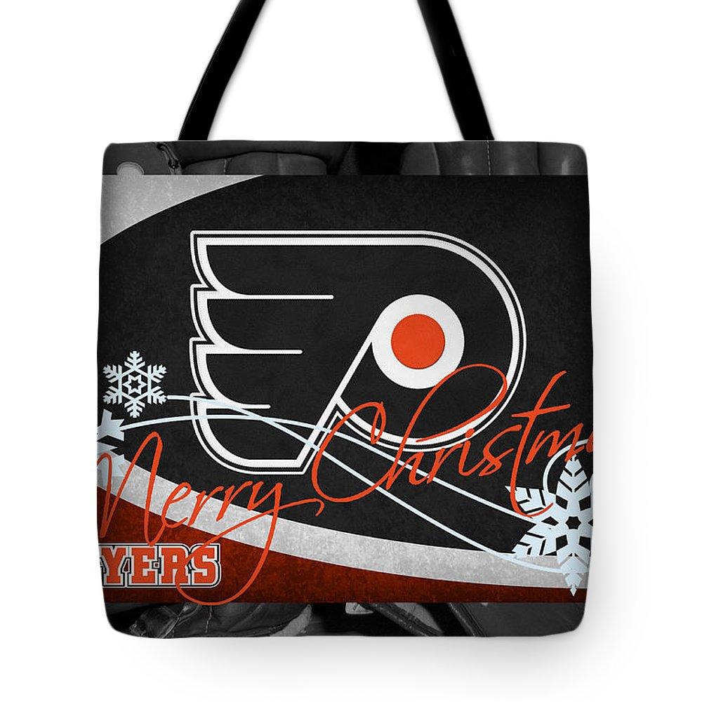 Flyers Tote Bag featuring the photograph Philadelphia Flyers Christmas by Joe Hamilton