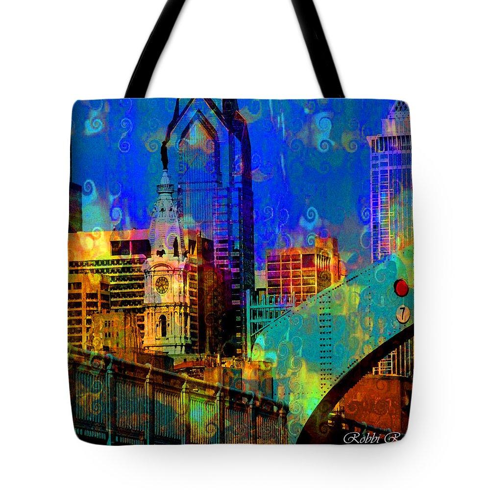 Philadelphia Tote Bag featuring the digital art Philadelphia Skyline by Brilliant Hues
