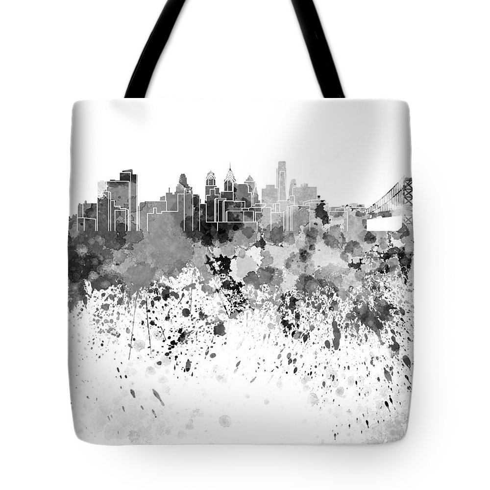 Philadelphia Skyline Tote Bag featuring the painting Philadelphia Skyline In Black Watercolor On White Background by Pablo Romero