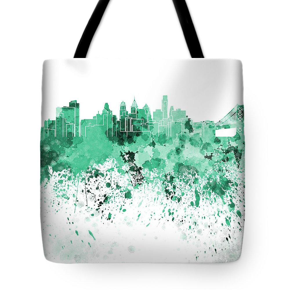 Philadelphia Skyline Tote Bag featuring the painting Philadelphia Skyline In Green Watercolor On White Background by Pablo Romero
