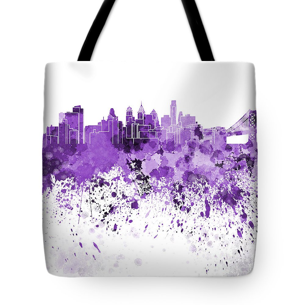 Philadelphia Skyline Tote Bag featuring the painting Philadelphia Skyline In Purple Watercolor On White Background by Pablo Romero