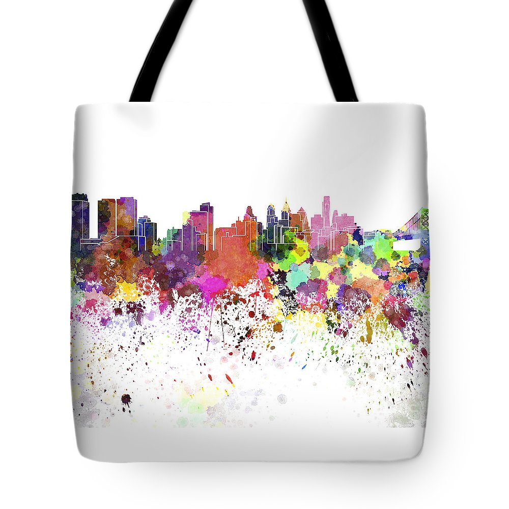 Philadelphia Skyline Tote Bag featuring the painting Philadelphia Skyline In Watercolor On White Background by Pablo Romero
