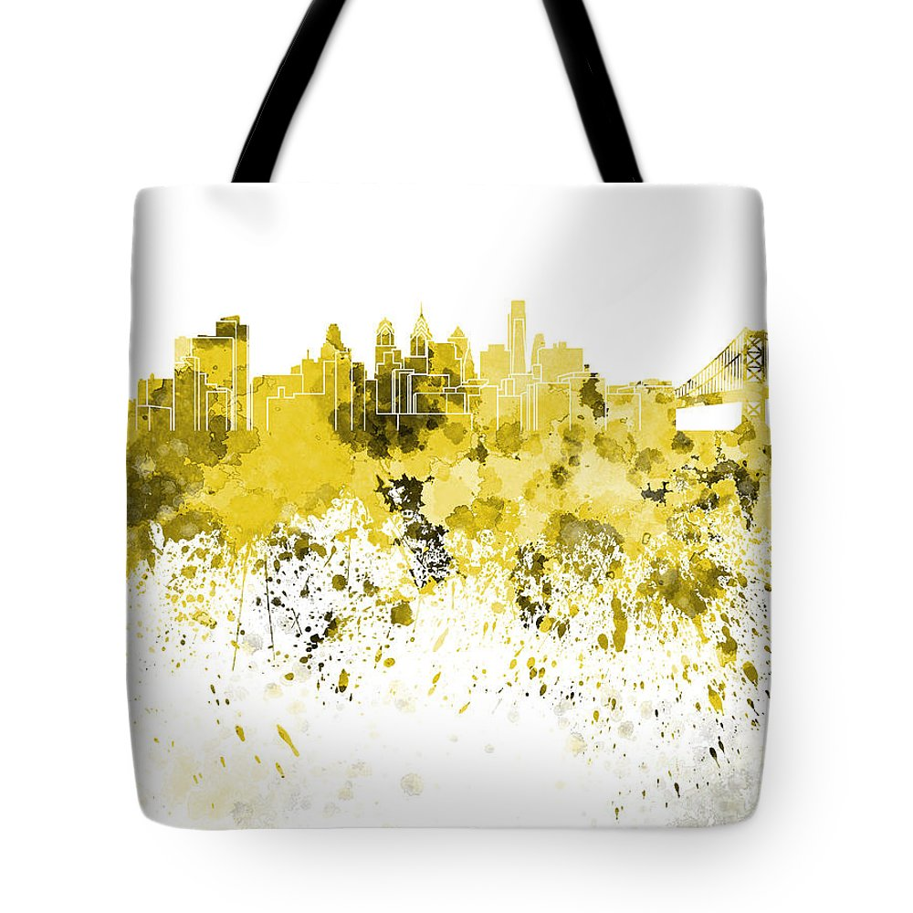 Philadelphia Skyline Tote Bag featuring the painting Philadelphia Skyline In Yellow Watercolor On White Background by Pablo Romero