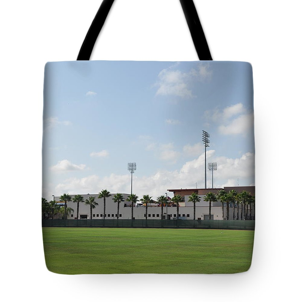 Phillies Tote Bag featuring the photograph Phillies Brighthouse Stadium Clearwater Florida by Bill Cannon