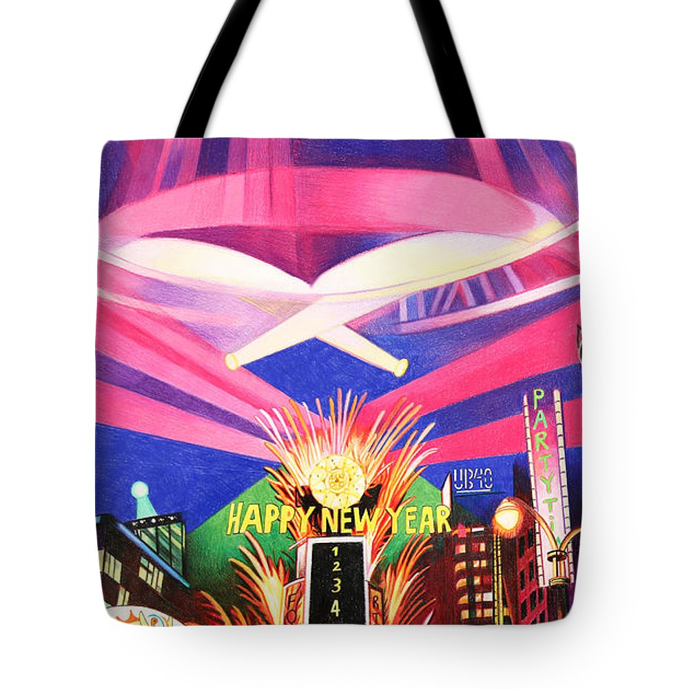 Phish Tote Bag featuring the drawing Phish New Years In New York Middle by Joshua Morton