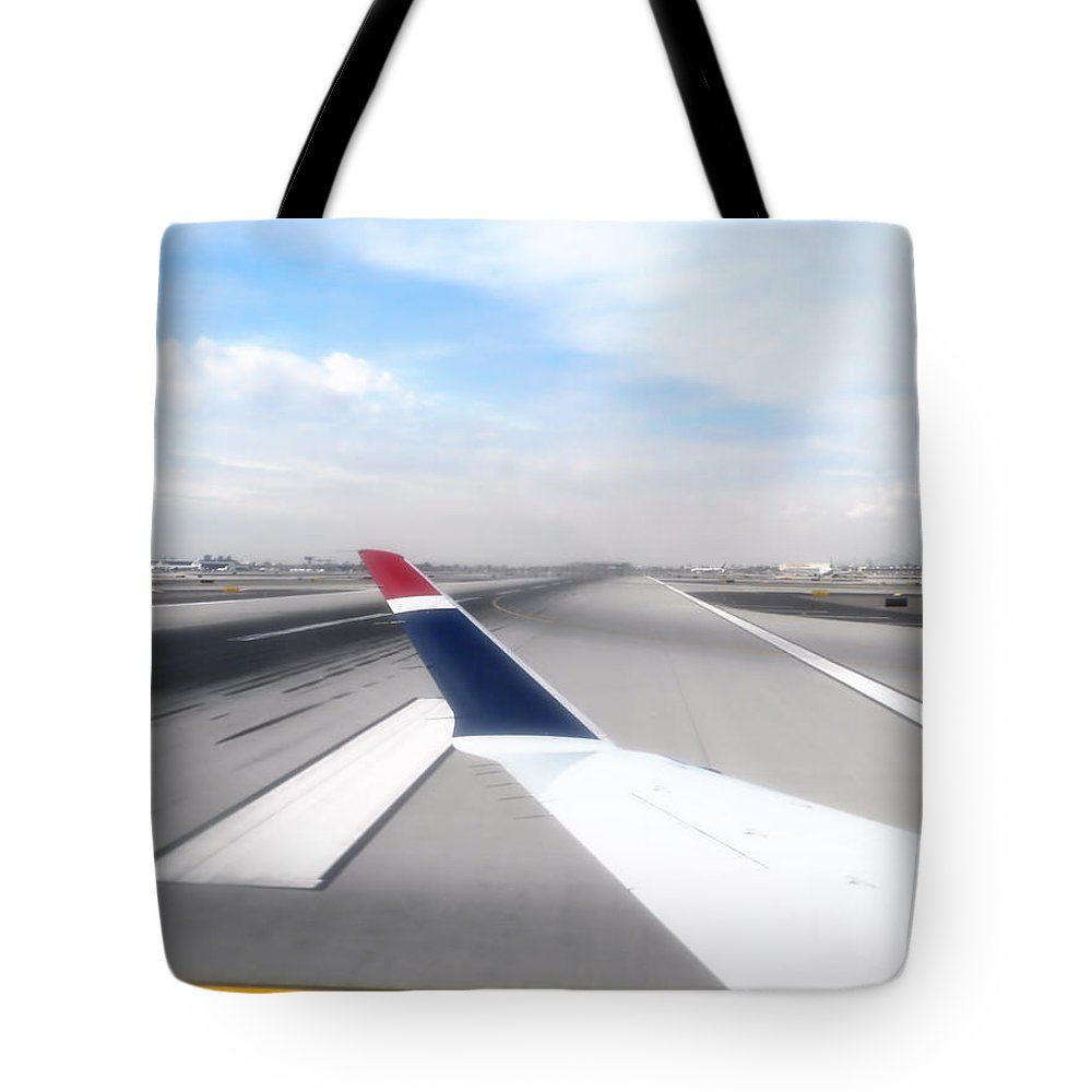 Phoenix Tote Bag featuring the photograph Phoenix Az Airport Wing Tip View by Thomas Woolworth
