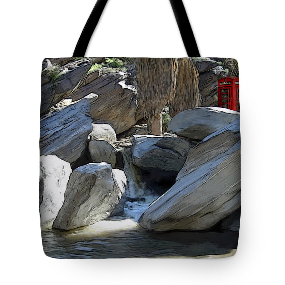 Mixed Media Tote Bag featuring the painting Phone Booth by Snake Jagger