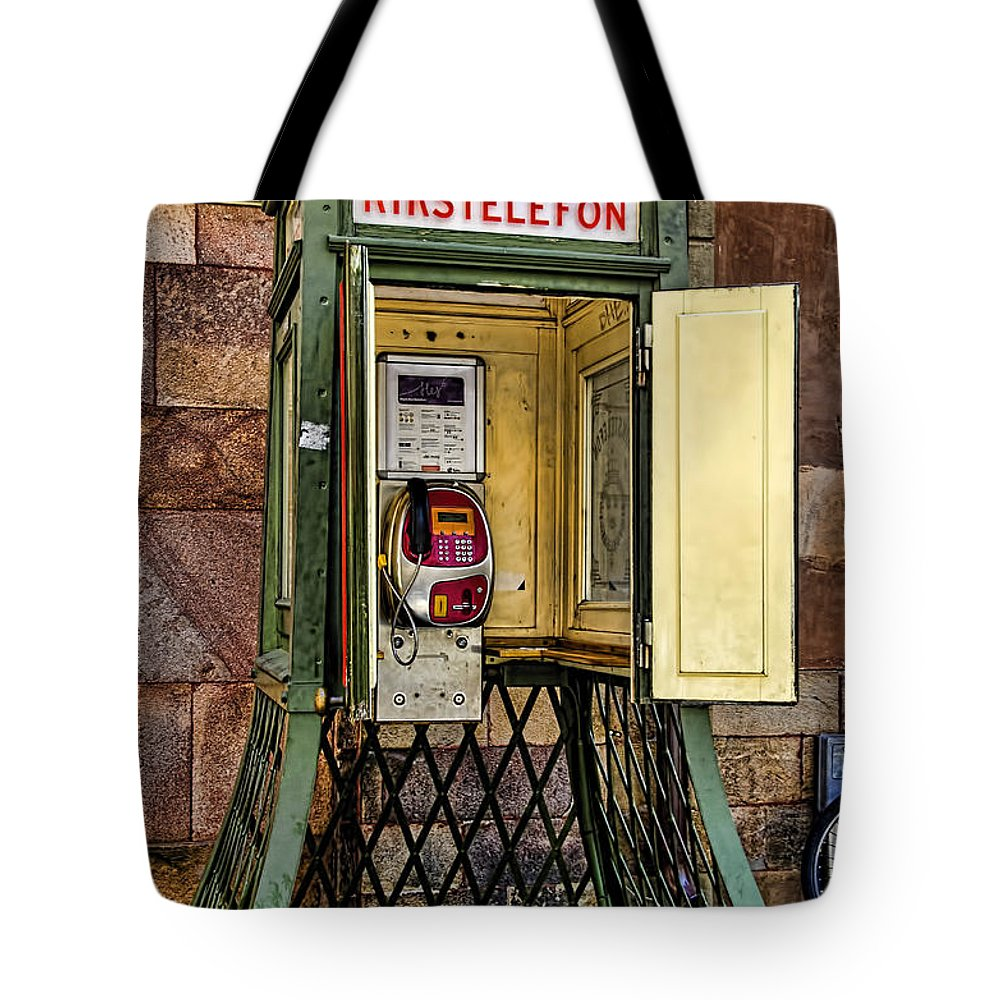 Telephone Tote Bag featuring the photograph Phone Home - Telephone Booth by Jon Berghoff