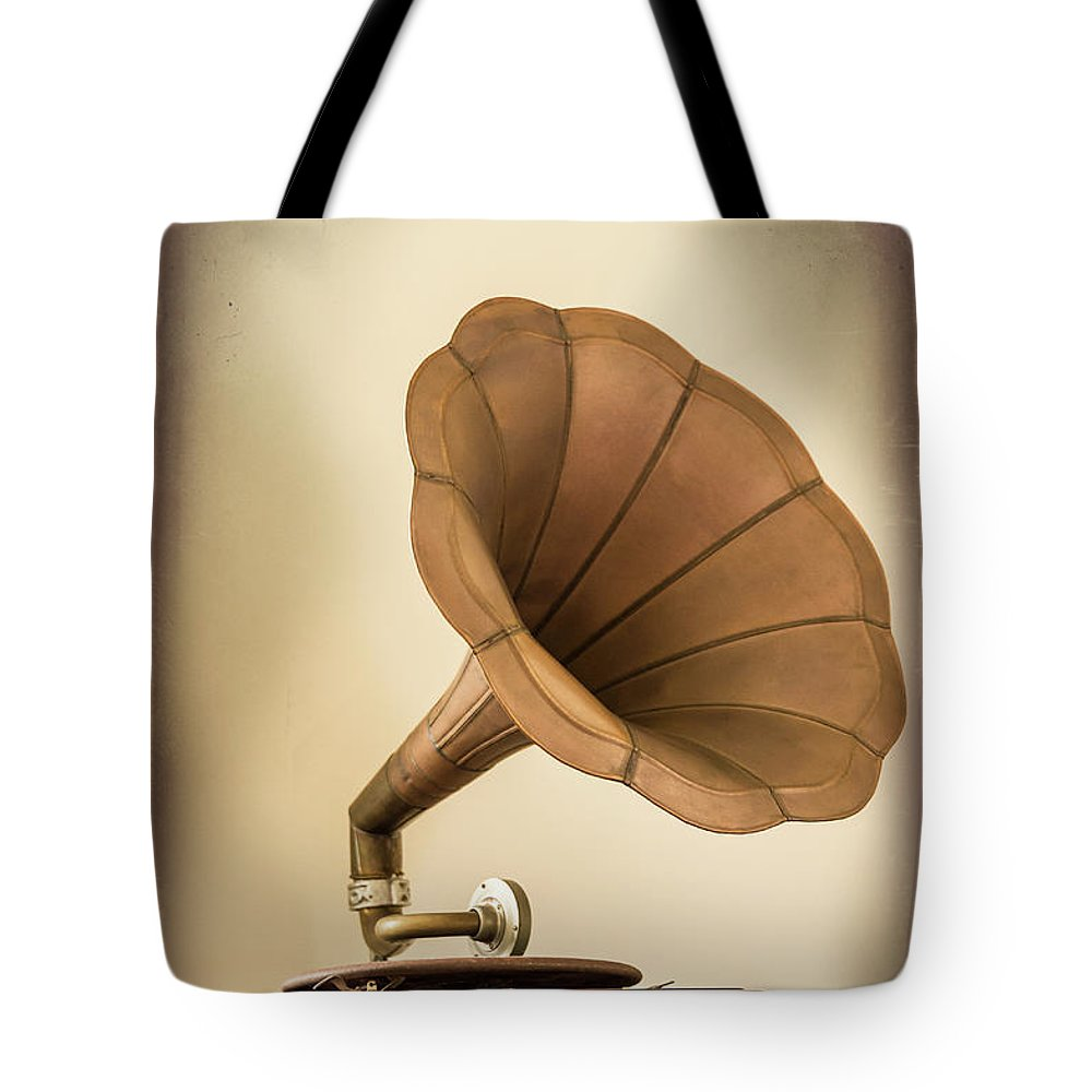 Music Tote Bag featuring the photograph Phonograph Record Player by Gary S Chapman