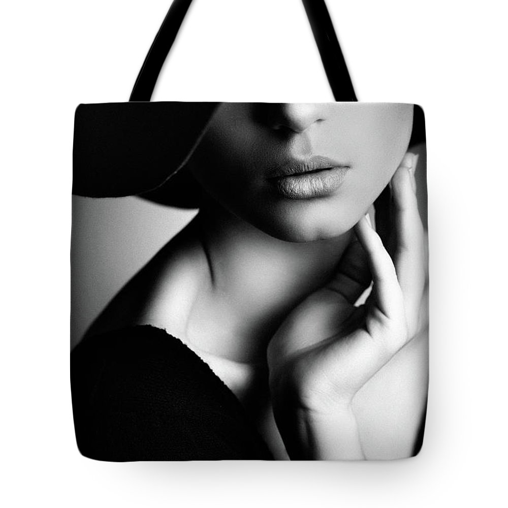 Cool Attitude Tote Bag featuring the photograph Photo Of Beautiful Woman In Retro Style by Coffeeandmilk