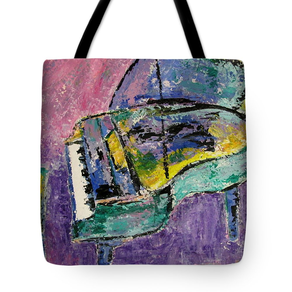 Impressionist Tote Bag featuring the painting Piano Green by Anita Burgermeister