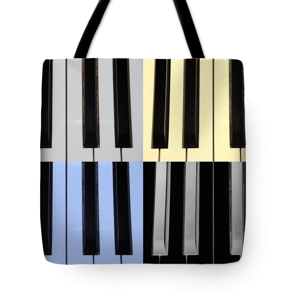 Piano Tote Bag featuring the photograph Piano Keys In Quad Colors by Rob Hans