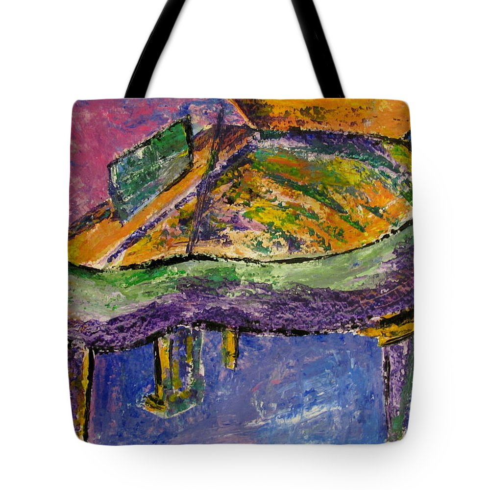 Impressionist Tote Bag featuring the painting Piano Purple by Anita Burgermeister