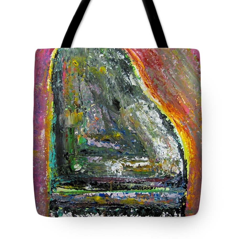 Impressionist Tote Bag featuring the painting Piano Red by Anita Burgermeister