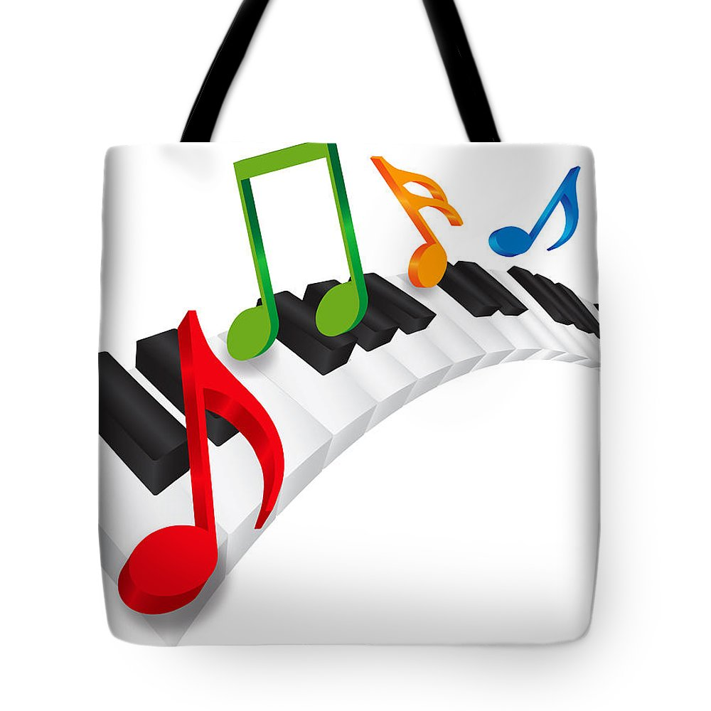 Piano Tote Bag featuring the photograph Piano Wavy Keyboard And Music Notes 3d Illustration by Jit Lim