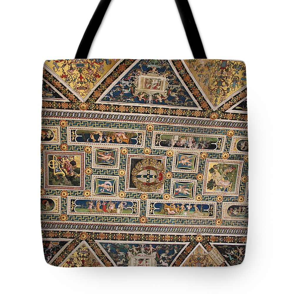 Ceiling Tote Bag featuring the photograph Piccolomini Bibliotheca - Siena by Christiane Schulze Art And Photography