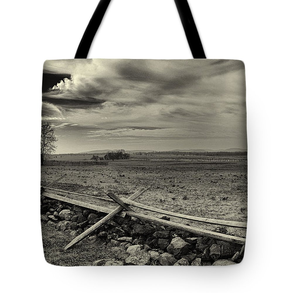 Joshua House Photo Tote Bag featuring the photograph Picketts Charge The Angle Black And White by Joshua House