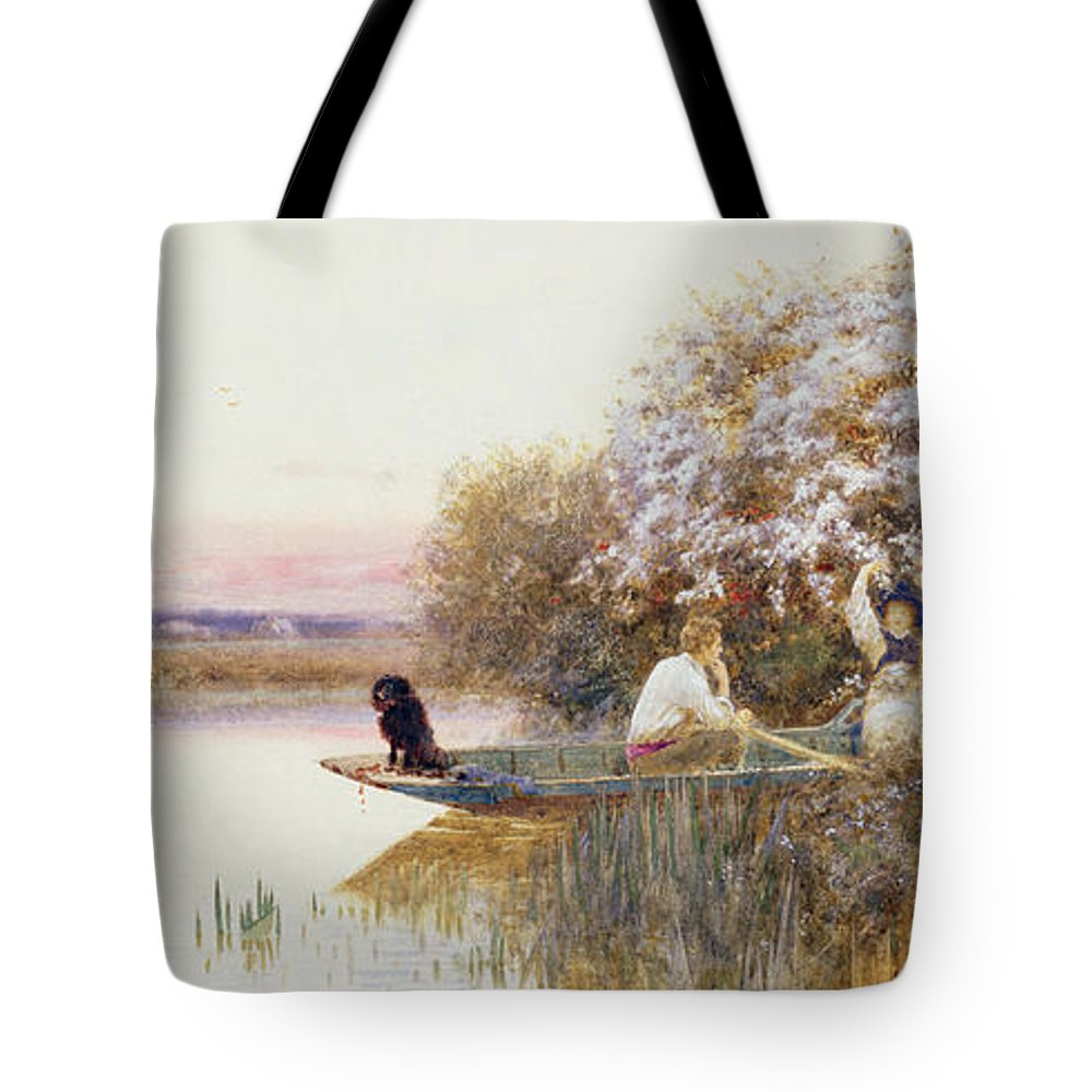 Landscape Tote Bag featuring the painting Picking Blossoms by Thomas James Lloyd