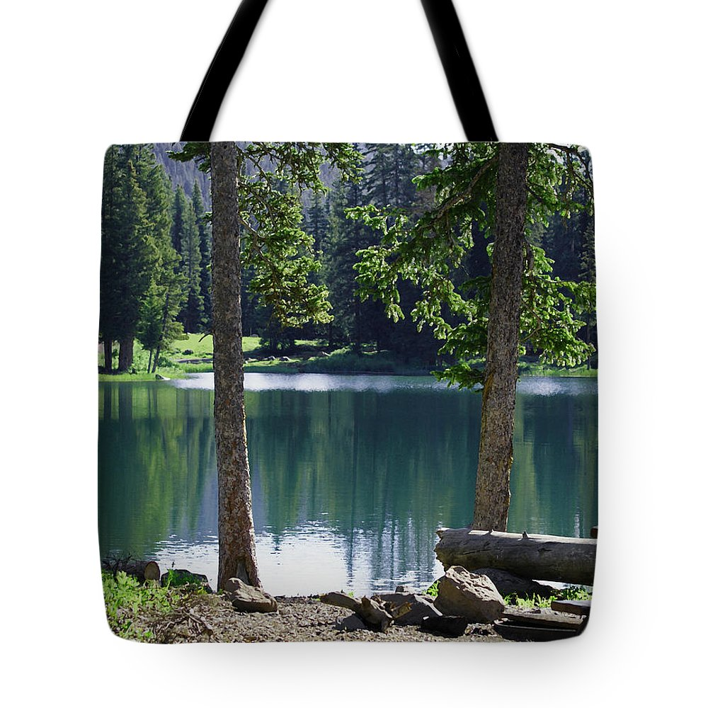 Lakes Tote Bag featuring the digital art Picnic By The Lake by Ernie Echols
