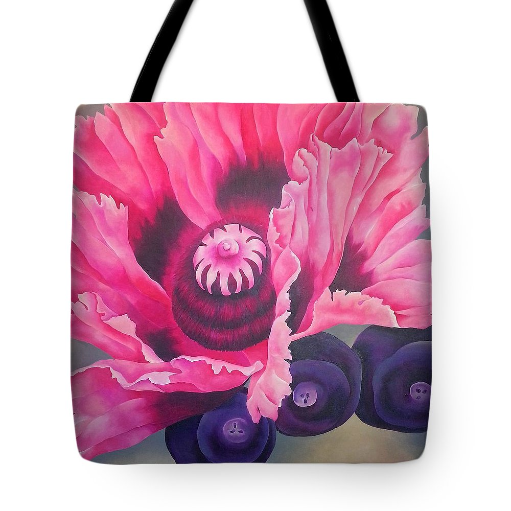 Pink Tote Bag featuring the painting Picotee by Elizabeth Elequin
