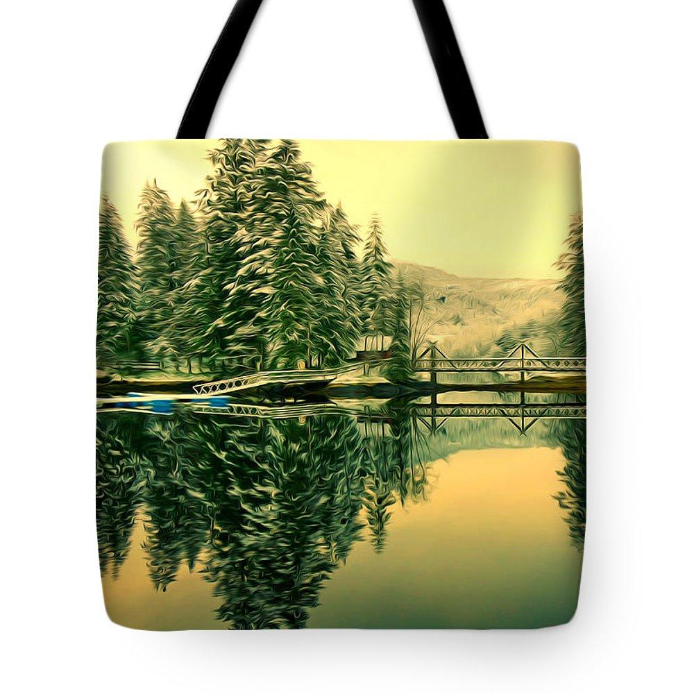 Picturesque Norway Landscape Tote Bag featuring the painting Picturesque Norway Landscape by Jeelan Clark