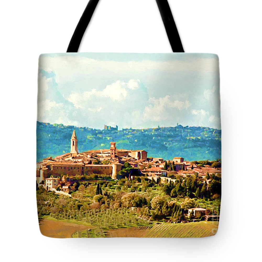 Pienza Tote Bag featuring the painting Pienza Italy by Accelerated Vision Photography