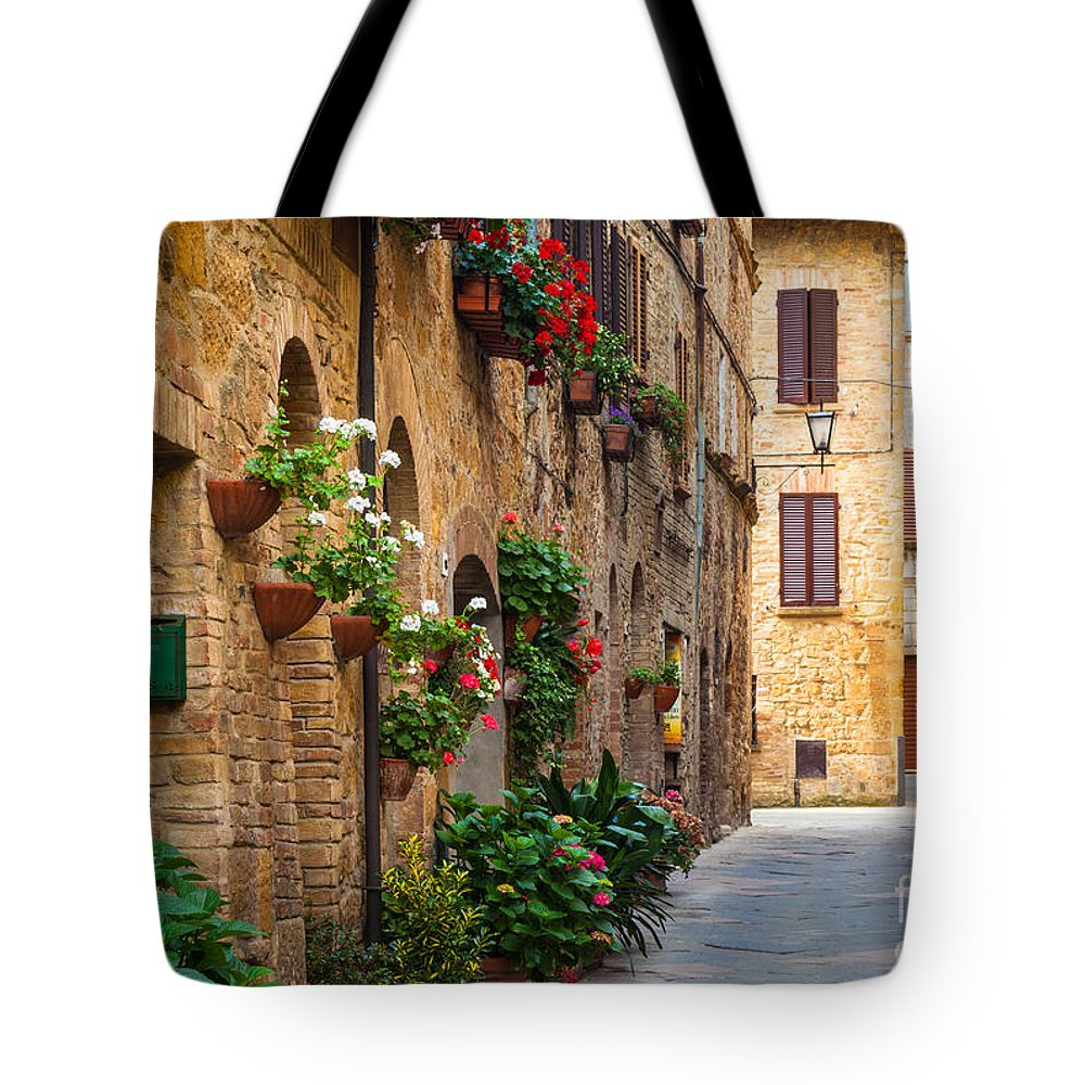 Europe Tote Bag featuring the photograph Pienza Street by Inge Johnsson