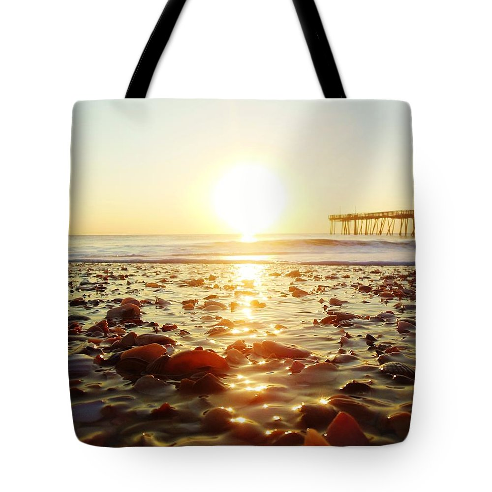 Mark Lemmon Cape Hatteras Nc The Outer Banks Photographer Subjects From Sunrise Tote Bag featuring the photograph Pier Shells And Sunrise 15 10/2 by Mark Lemmon