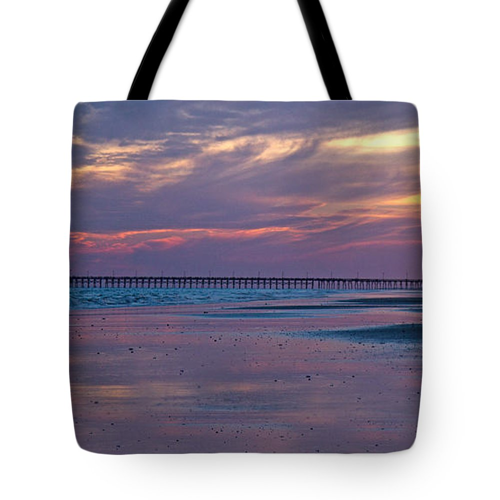 Topsail Tote Bag featuring the photograph Pier Sunset by Betsy Knapp