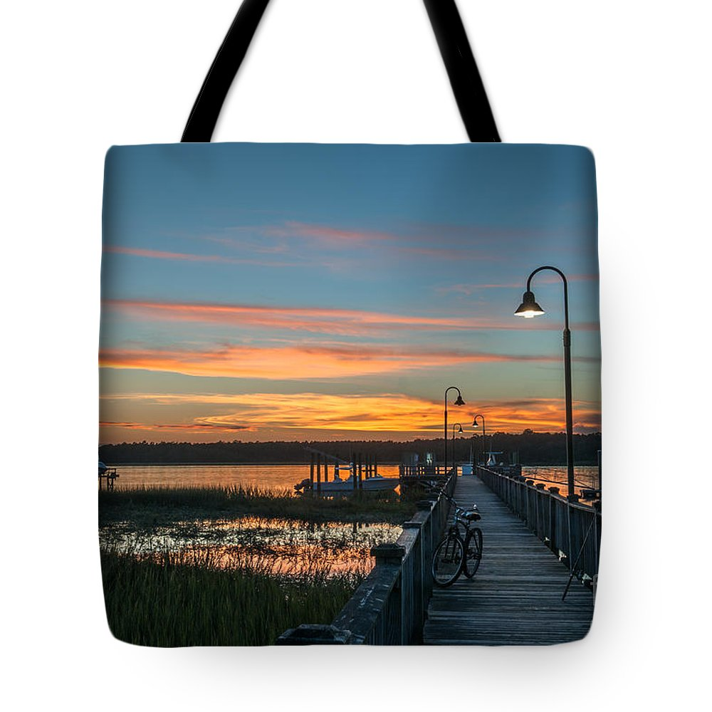 Sunset Tote Bag featuring the photograph Pier Sunset by Dale Powell