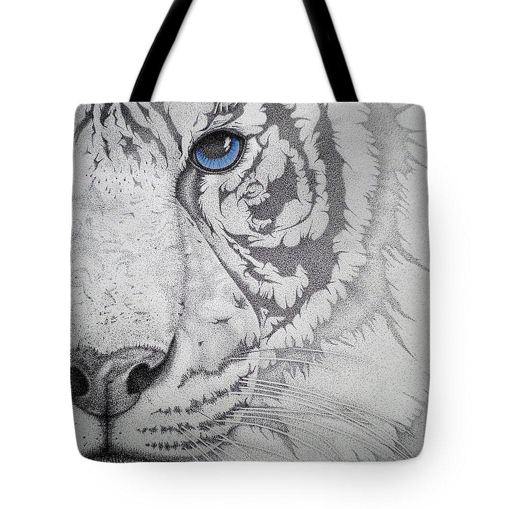 Tigers Paintings Tote Bag featuring the drawing Piercing II by Mayhem Mediums