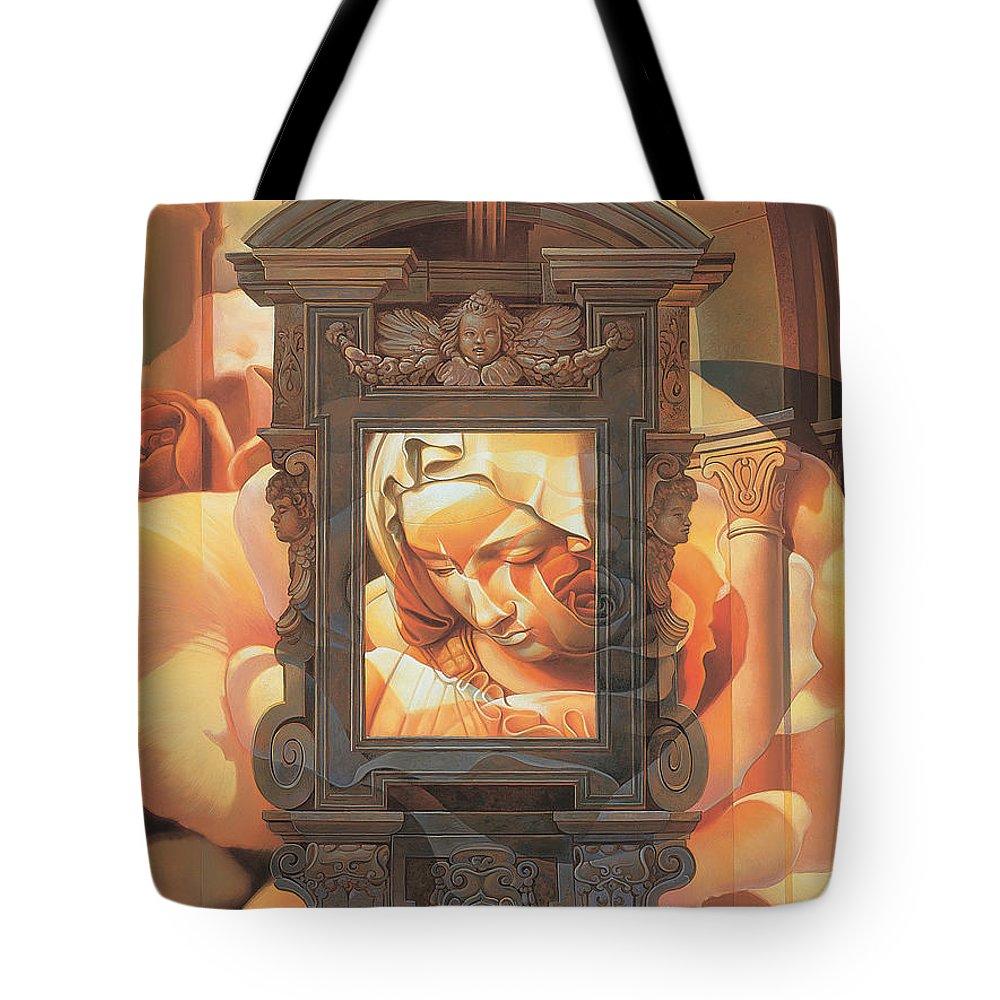 Conceptual Tote Bag featuring the painting Pieta by Mia Tavonatti