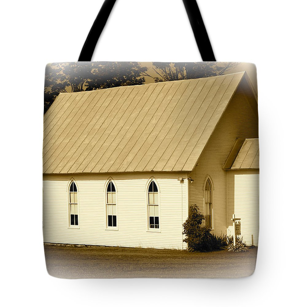 Sepia Toned Tote Bag featuring the photograph Piety by Jim Cotton
