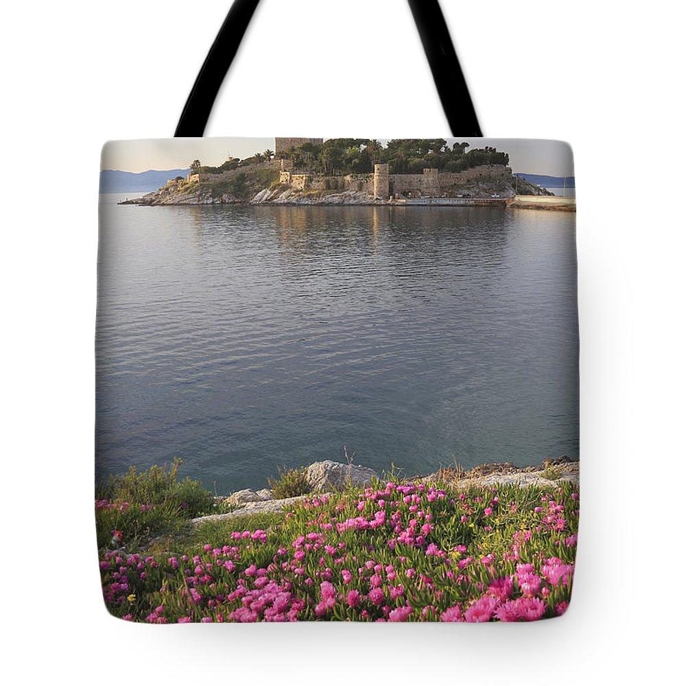 Aegean Tote Bag featuring the photograph Pigeon Island Kusadasi Turkey by Ivan Pendjakov