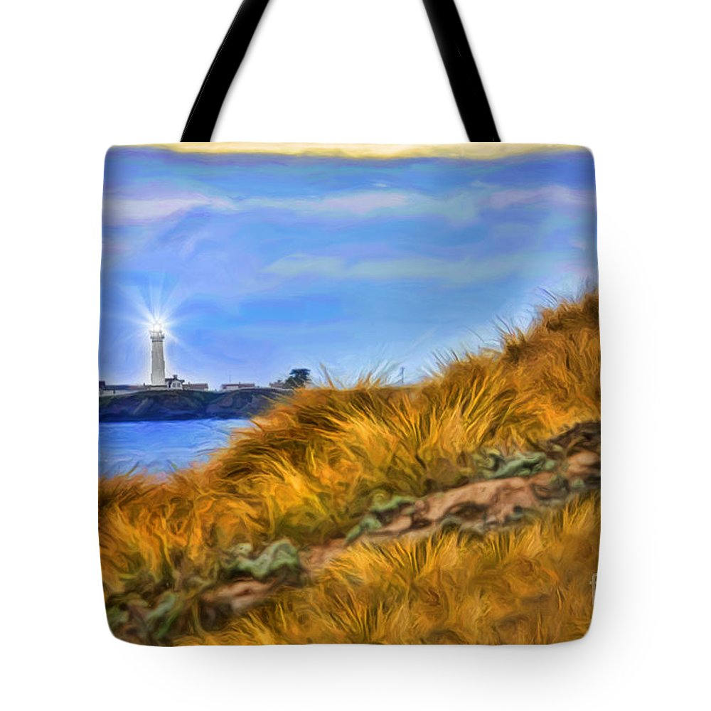 Pigeon Point Light Station State Historic Park Tote Bag featuring the photograph Pigeon Point Light Station by Blake Richards