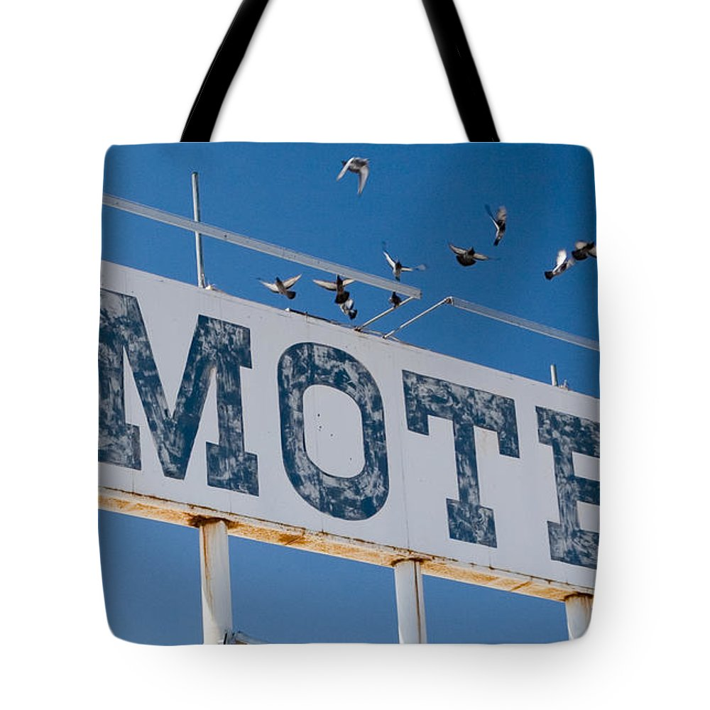 Sign Tote Bag featuring the photograph Pigeon Roost Motel Sign by Scott Campbell