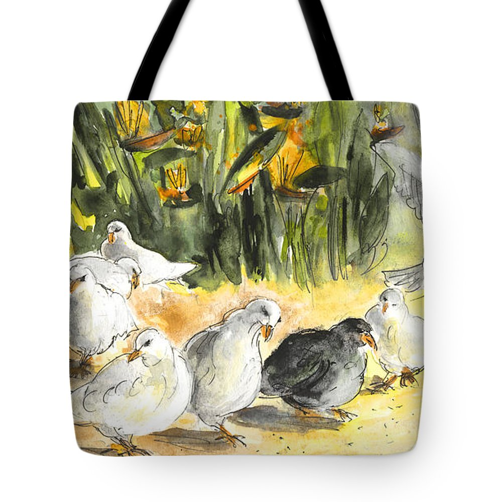 Travel Tote Bag featuring the painting Pigeons In Benidorm by Miki De Goodaboom