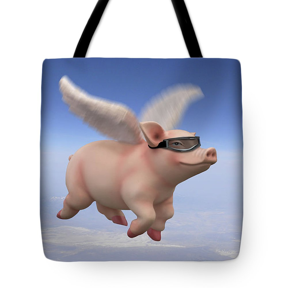 Pigs Fly Tote Bag featuring the photograph Pigs Fly 1 by Mike McGlothlen