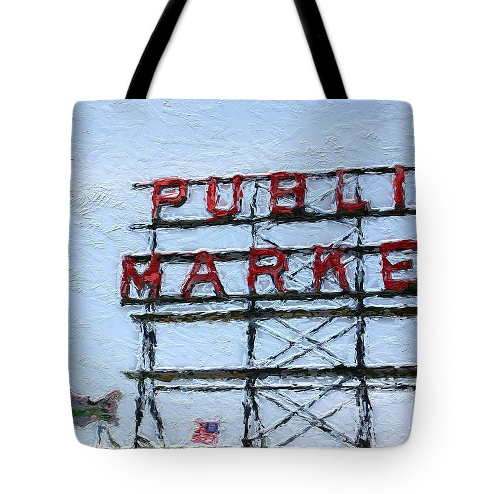 Seattle Tote Bag featuring the painting Pike Place Market by Linda Woods